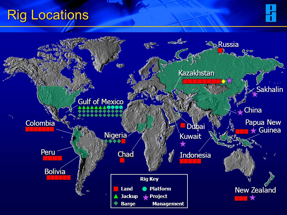 Rig Locations Russia Kazakhstan Sakhalin Gulf of Mexico China Colombia