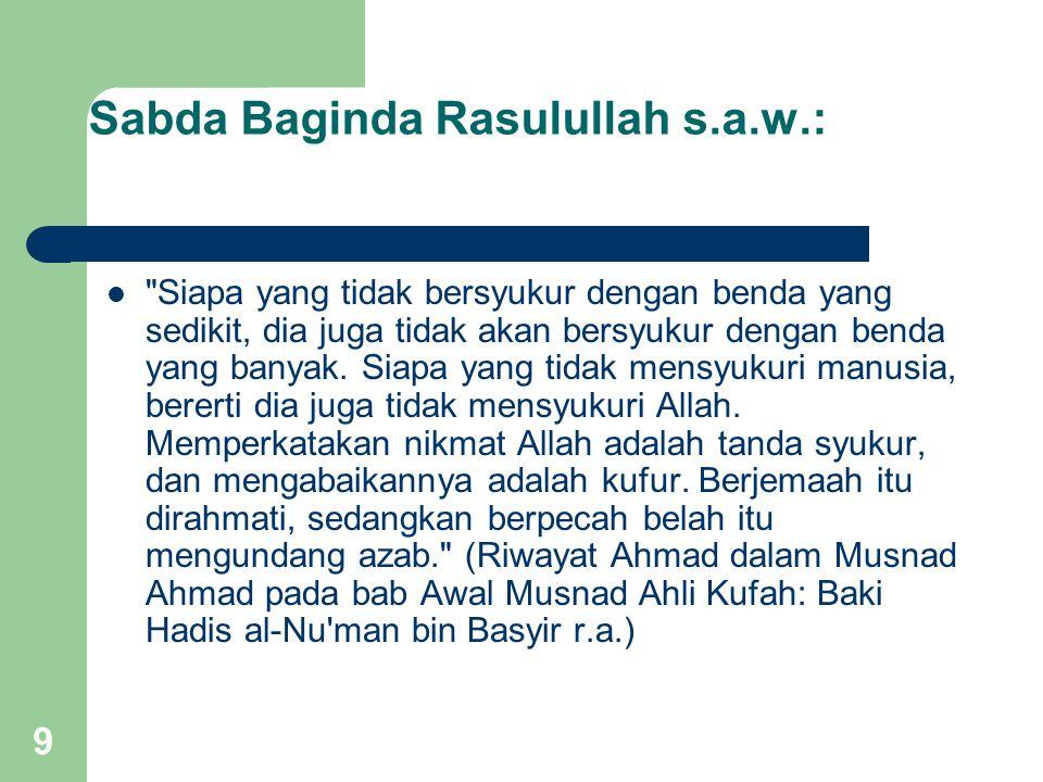 Sabda Baginda Rasulullah s.a.w.: