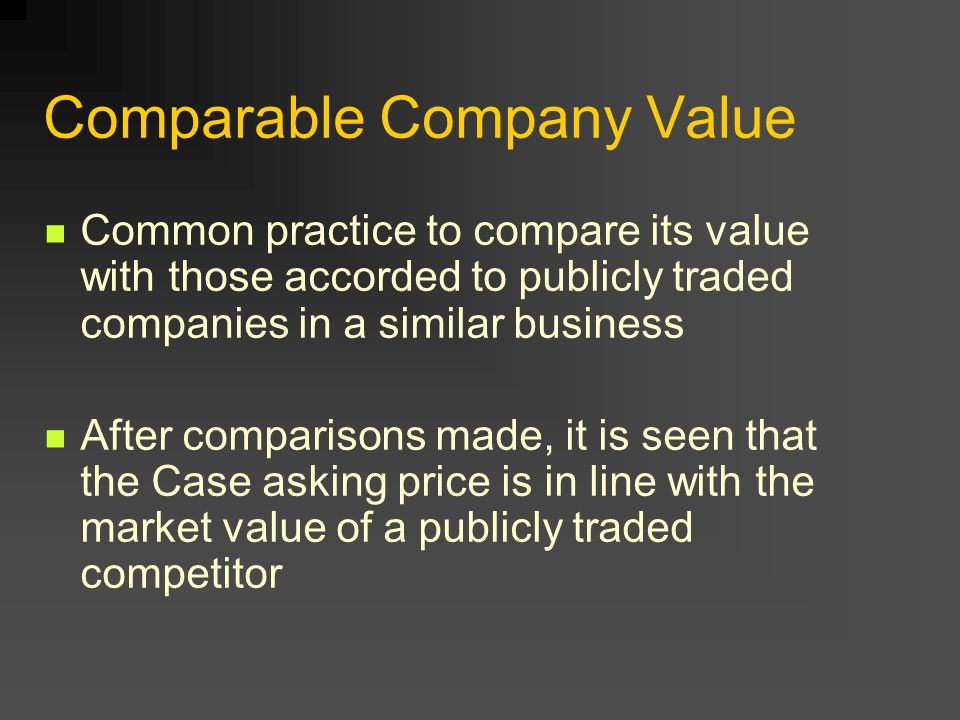 Comparable Company Value