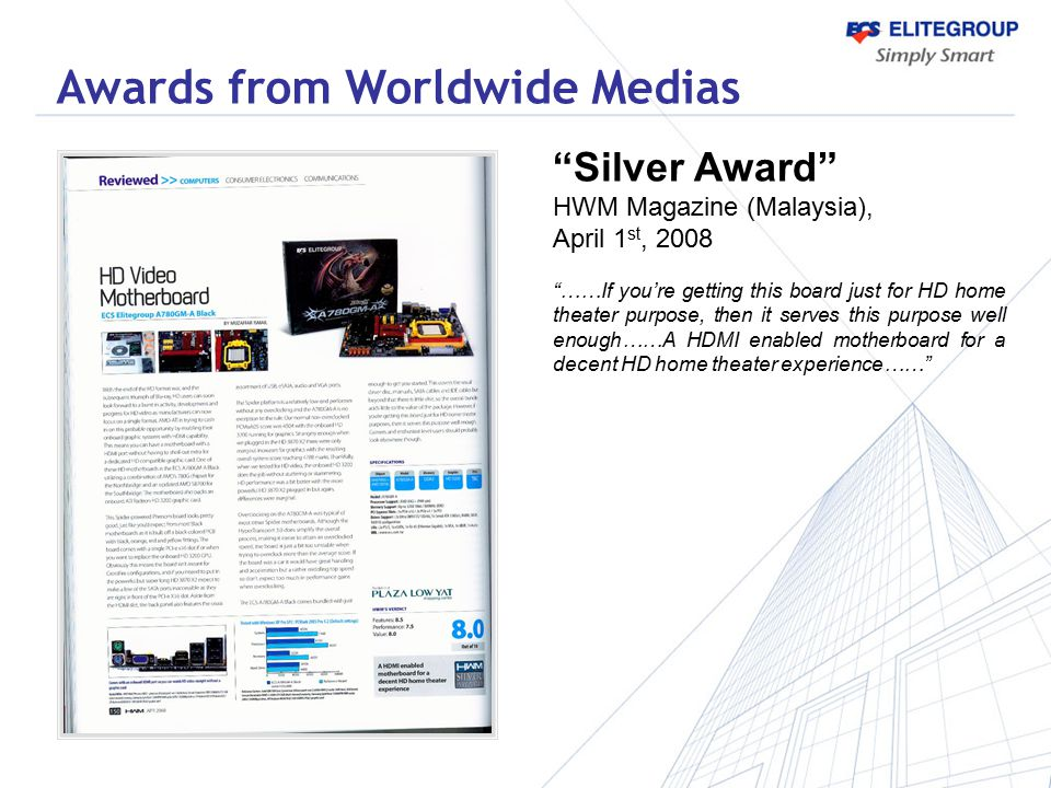 Awards from Worldwide Medias
