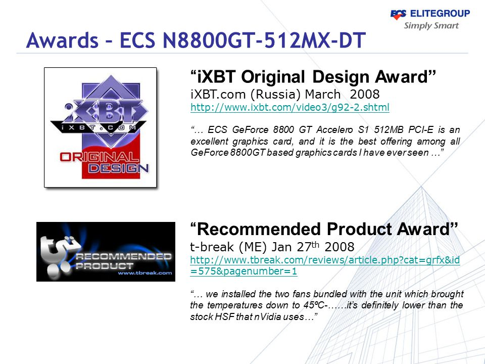 Awards – ECS N8800GT-512MX-DT iXBT Original Design Award