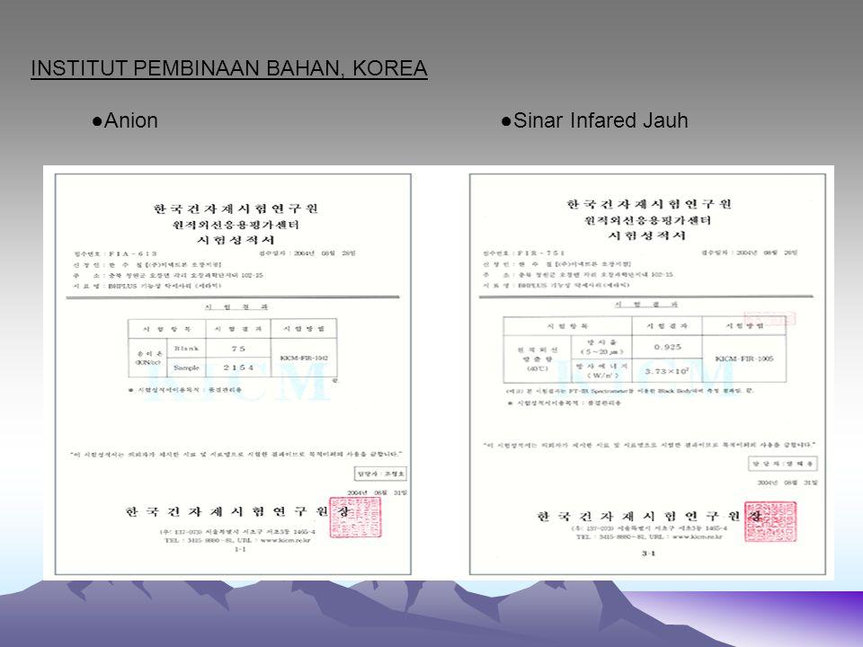 INSTITUT PEMBINAAN BAHAN, KOREA ●Anion ●Sinar Infared Jauh
