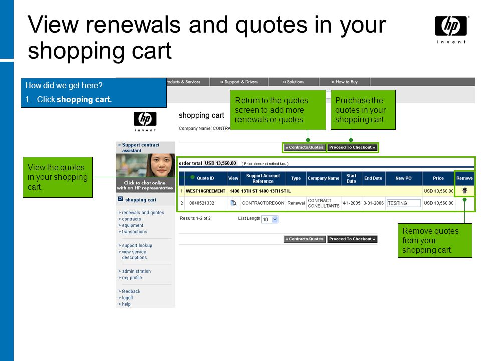 View renewals and quotes in your shopping cart