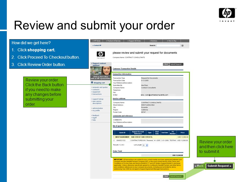 Review and submit your order