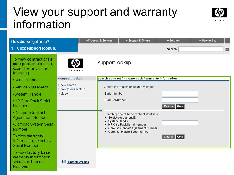 View your support and warranty information