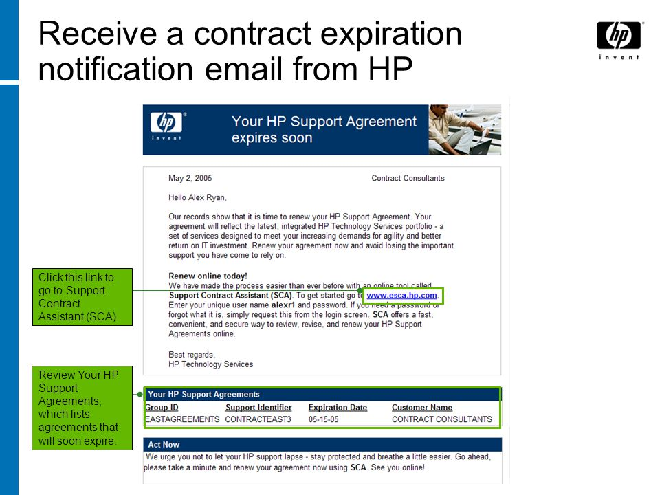 Receive a contract expiration notification email from HP