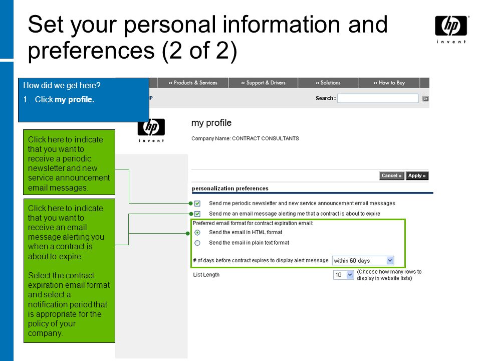 Set your personal information and preferences (2 of 2)