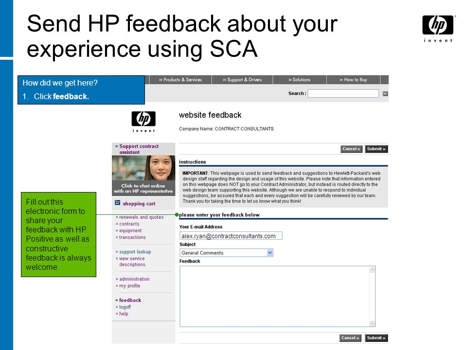 Send HP feedback about your experience using SCA
