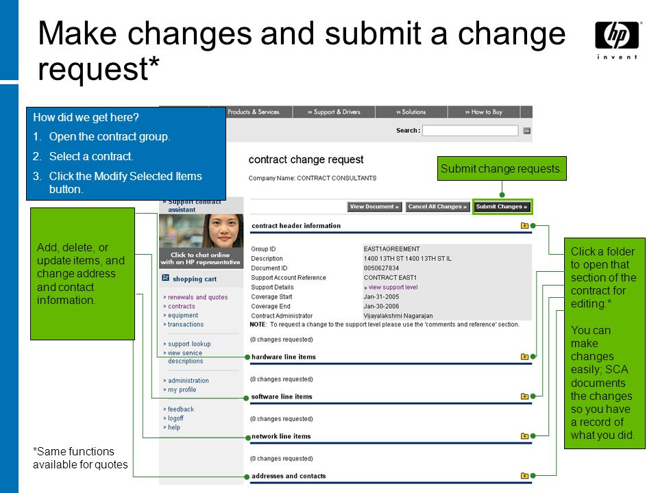 Submit change requests.