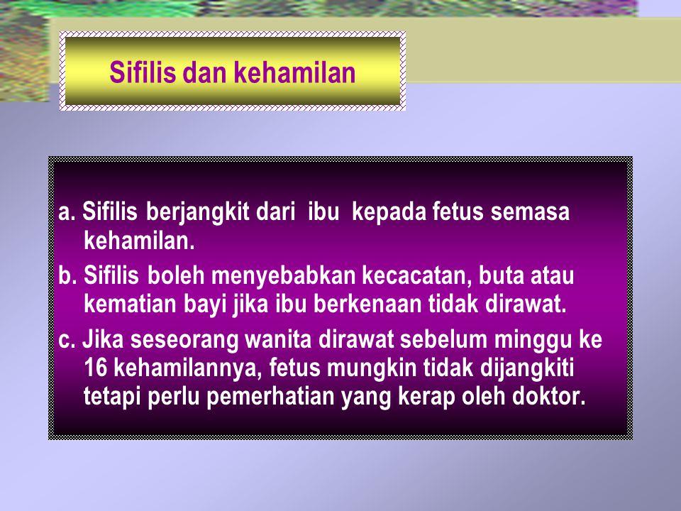 Sifilis dan kehamilan a. Sifilis berjangkit dari ibu kepada fetus semasa kehamilan.