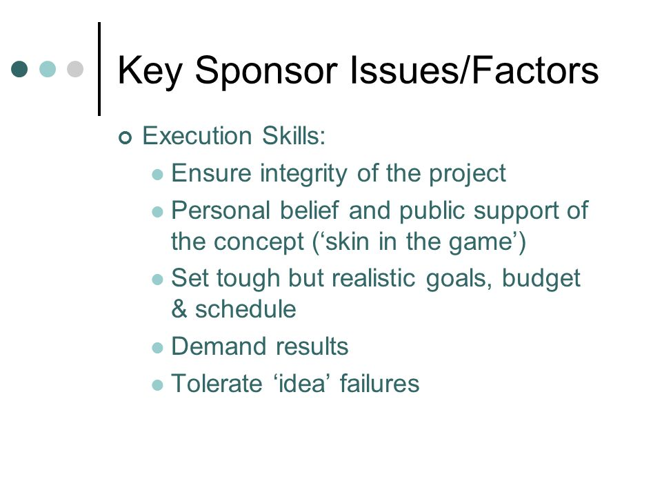 Key Sponsor Issues/Factors