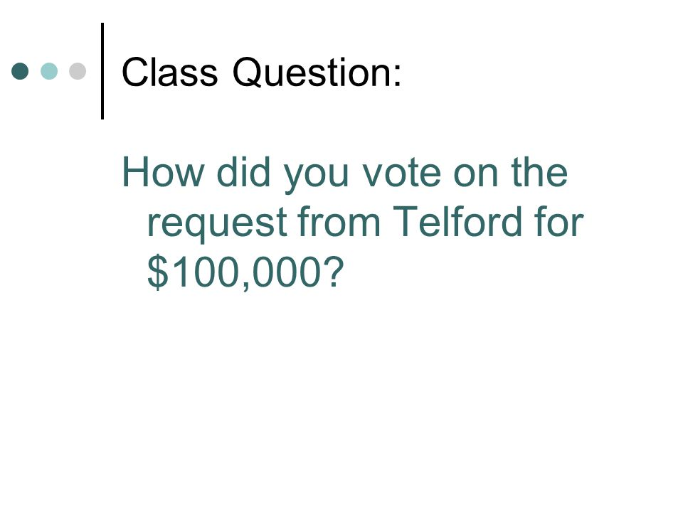 How did you vote on the request from Telford for $100,000