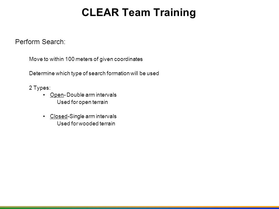 CLEAR Team Training Perform Search: