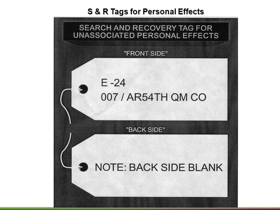 S & R Tags for Personal Effects