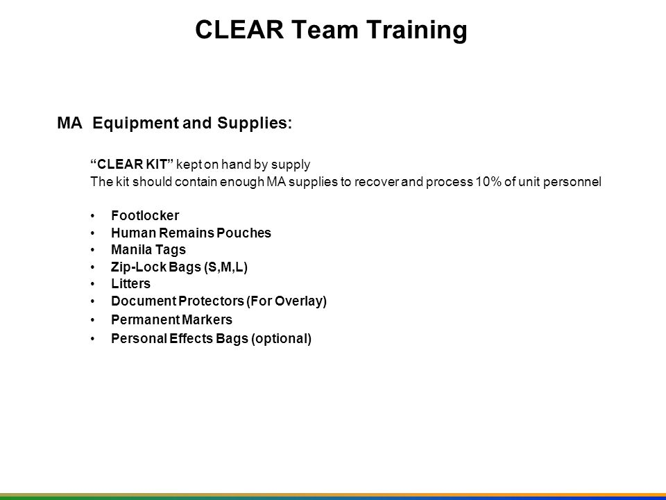 CLEAR Team Training MA Equipment and Supplies: