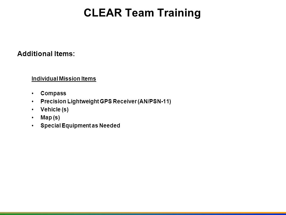 CLEAR Team Training Additional Items: Individual Mission Items Compass