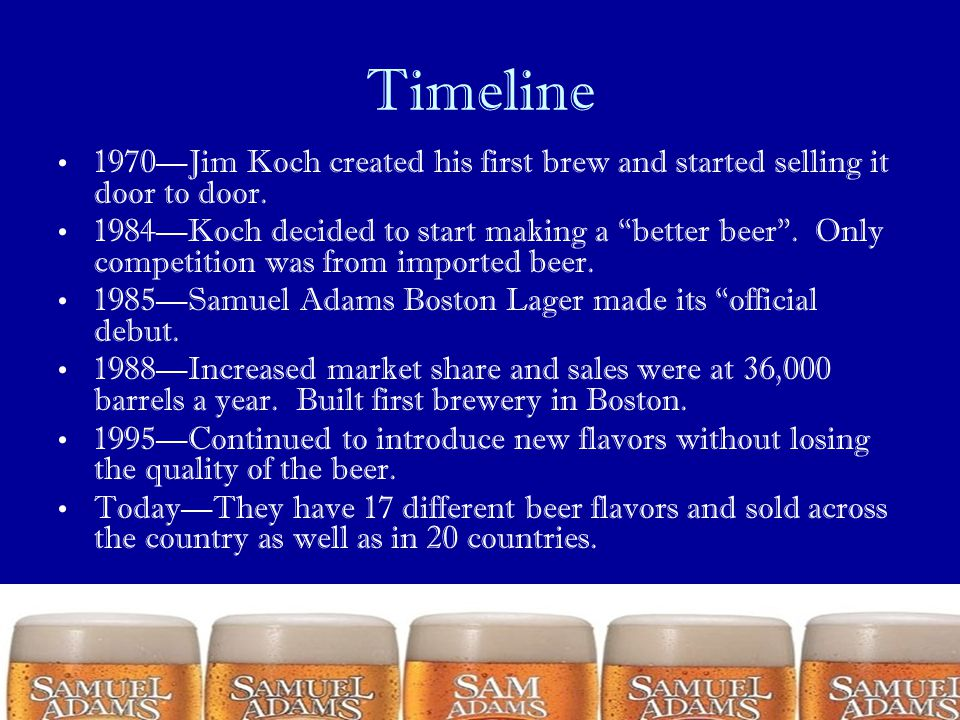 Timeline 1970—Jim Koch created his first brew and started selling it door to door.