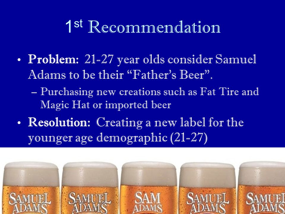 1st Recommendation Problem: 21-27 year olds consider Samuel Adams to be their Father's Beer .