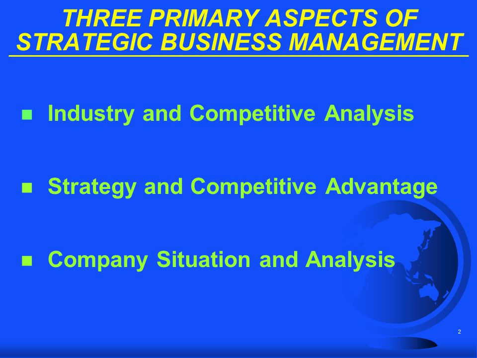 THREE PRIMARY ASPECTS OF STRATEGIC BUSINESS MANAGEMENT