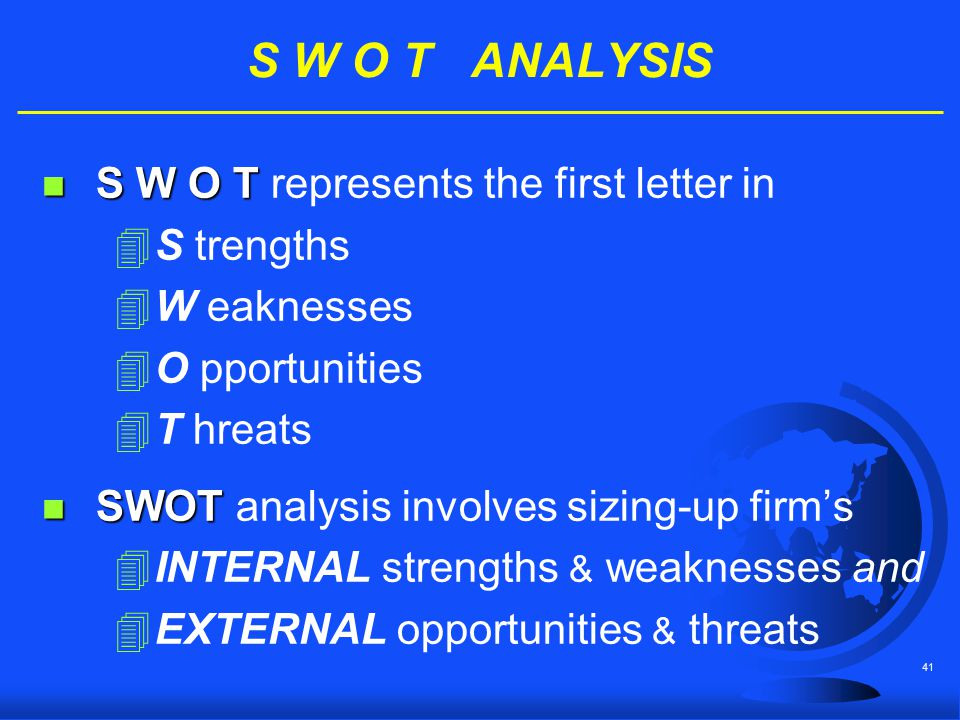 S W O T ANALYSIS S W O T represents the first letter in S trengths
