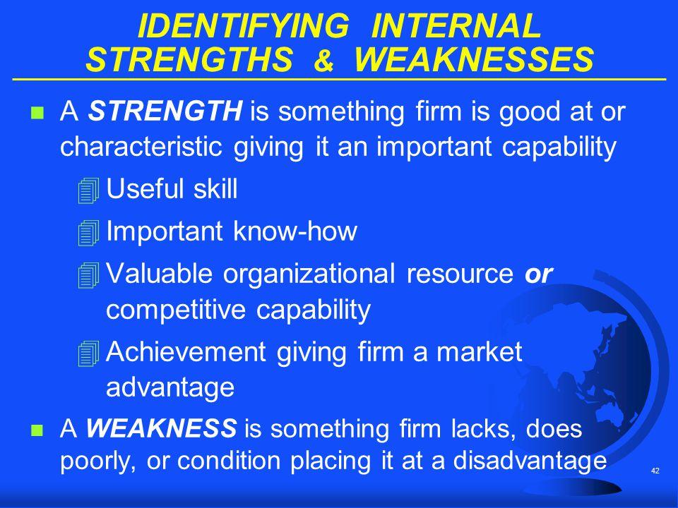 IDENTIFYING INTERNAL STRENGTHS & WEAKNESSES