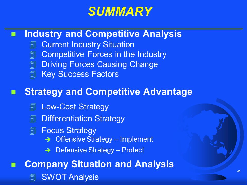 SUMMARY Industry and Competitive Analysis
