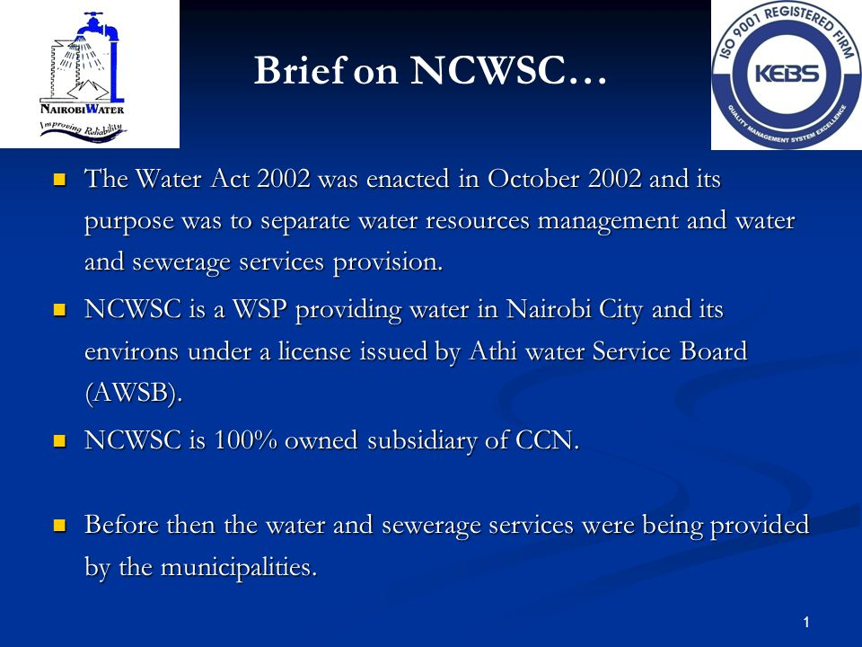 Brief on NCWSC…