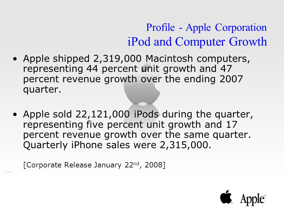 Profile - Apple Corporation iPod and Computer Growth