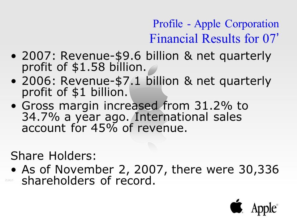 Profile - Apple Corporation Financial Results for 07'