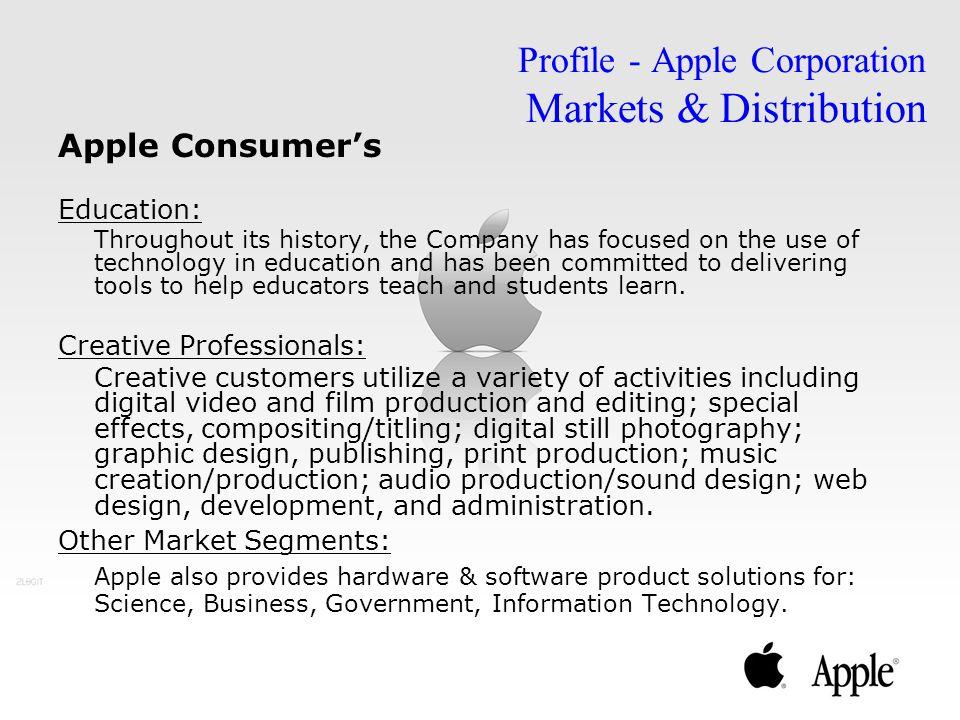 Profile - Apple Corporation Markets & Distribution