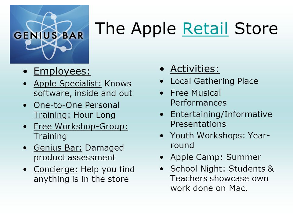 The Apple Retail Store Activities: Employees: Local Gathering Place