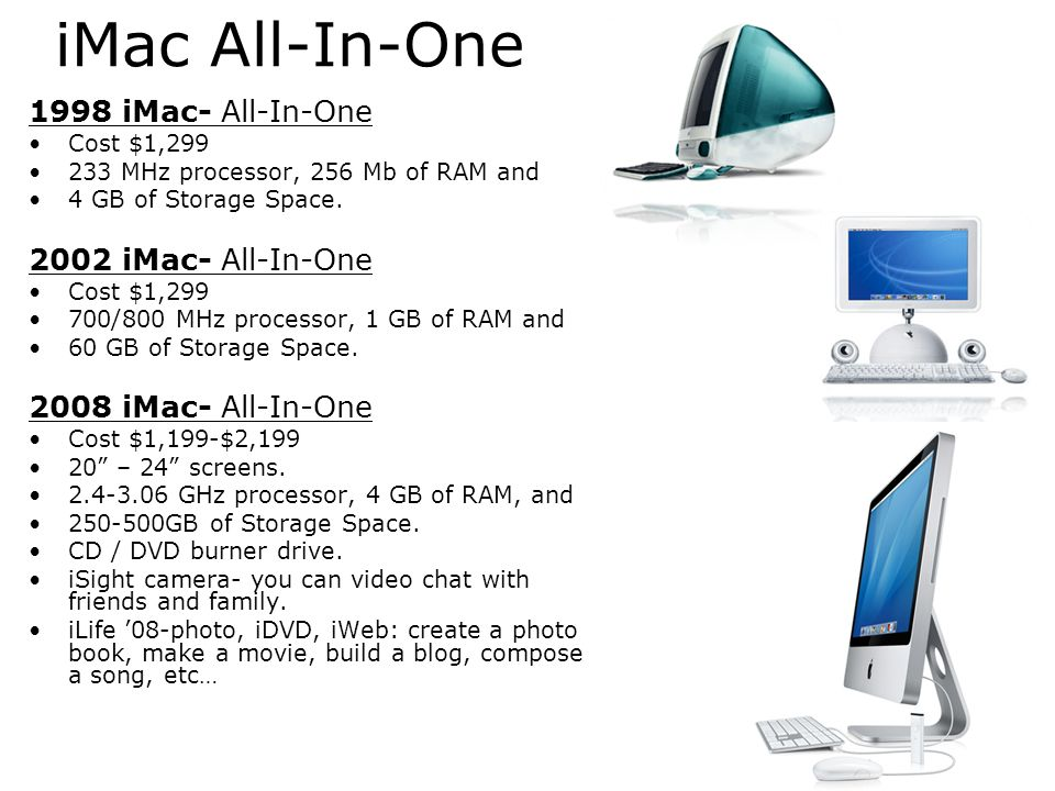 iMac All-In-One 1998 iMac- All-In-One 2002 iMac- All-In-One