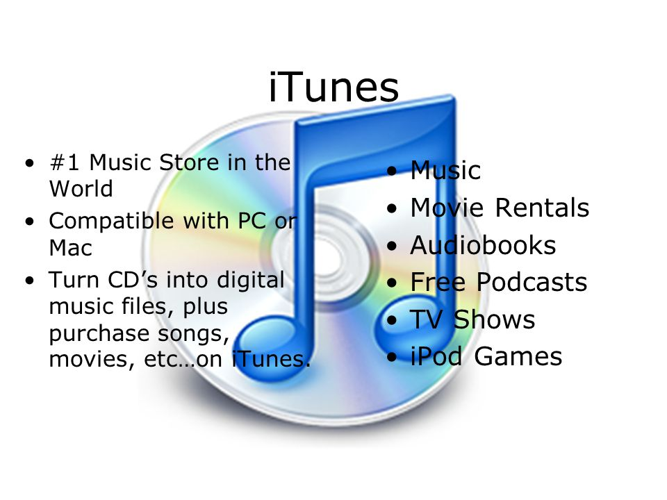 iTunes Music Movie Rentals Audiobooks Free Podcasts TV Shows