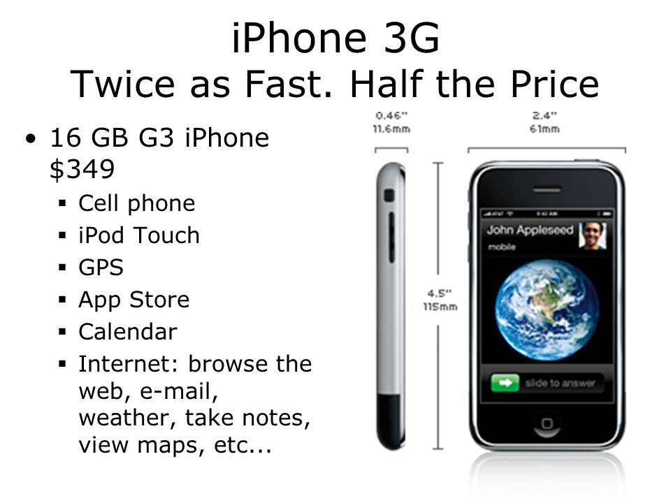iPhone 3G Twice as Fast. Half the Price