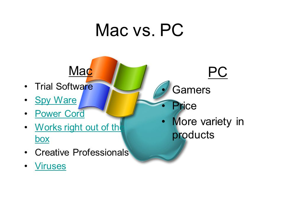 Mac vs. PC PC Mac Gamers Price More variety in products Trial Software