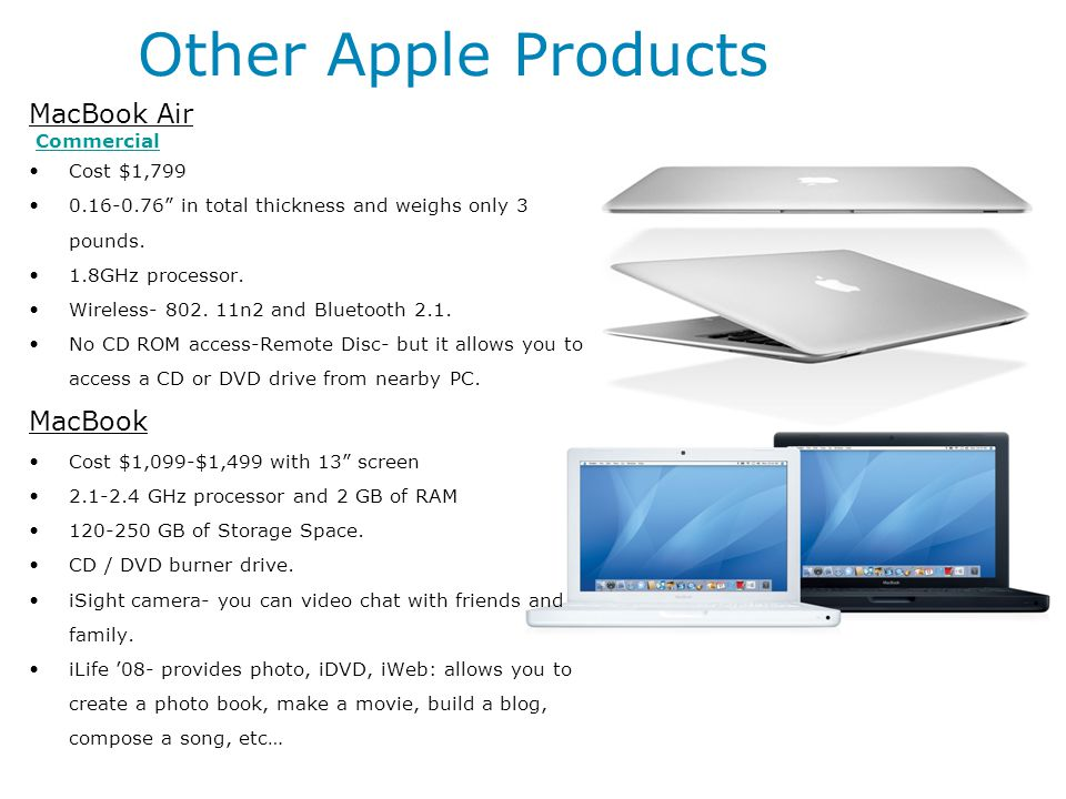 Other Apple Products MacBook Air MacBook Commercial Cost $1,799