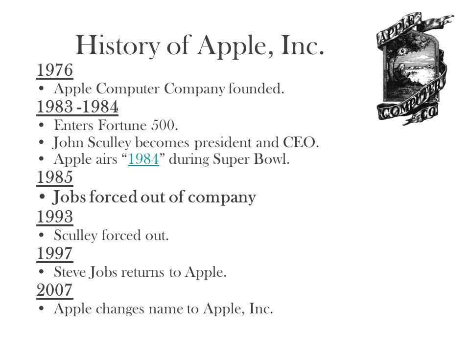 History of Apple, Inc. 1976 1983 -1984 1985 Jobs forced out of company