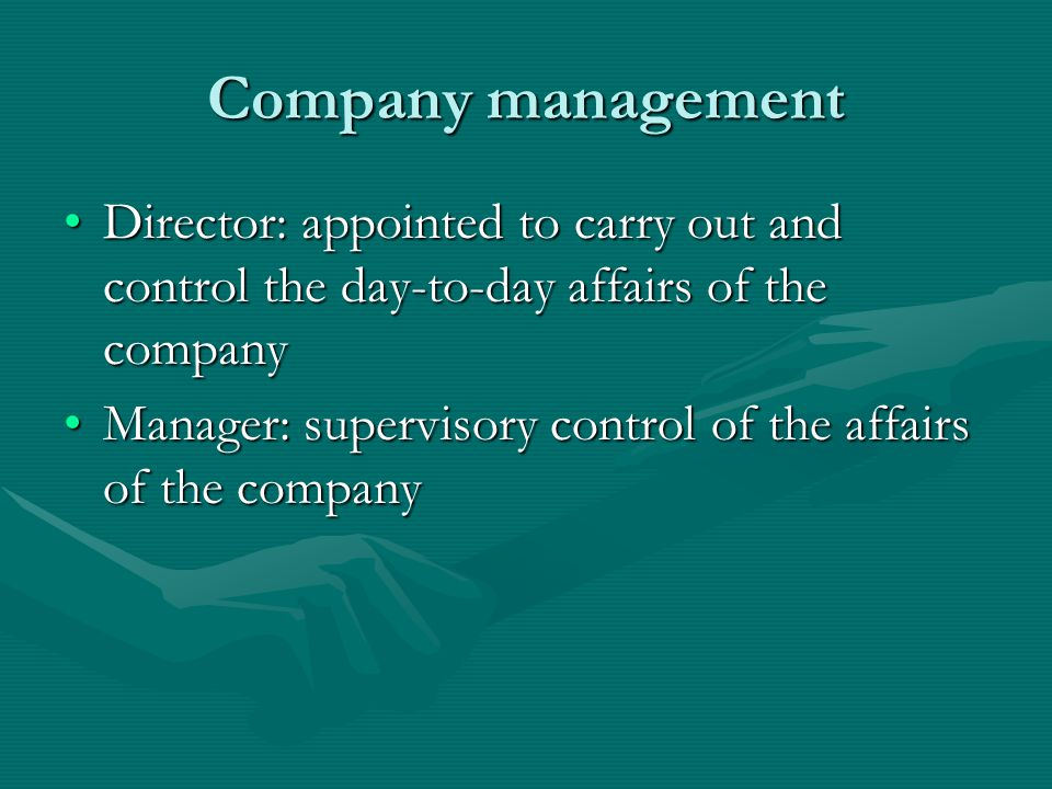 Company management Director: appointed to carry out and control the day-to-day affairs of the company.