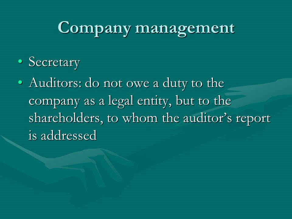 Company management Secretary