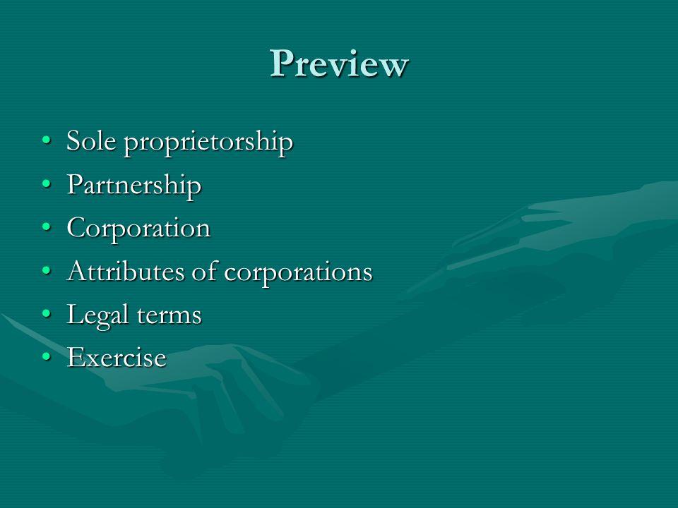 Preview Sole proprietorship Partnership Corporation