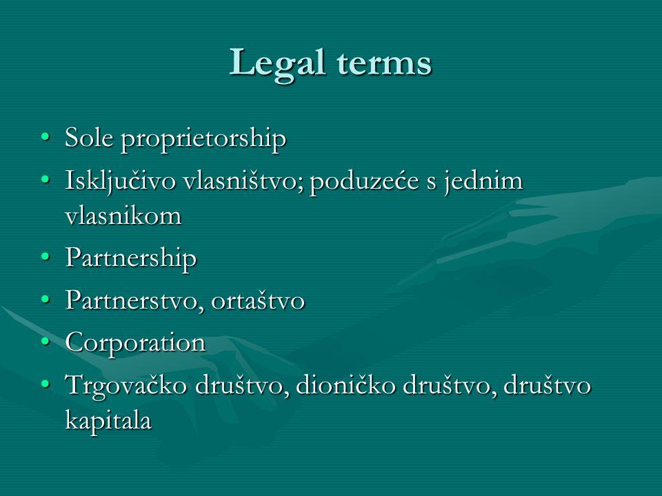 Legal terms Sole proprietorship
