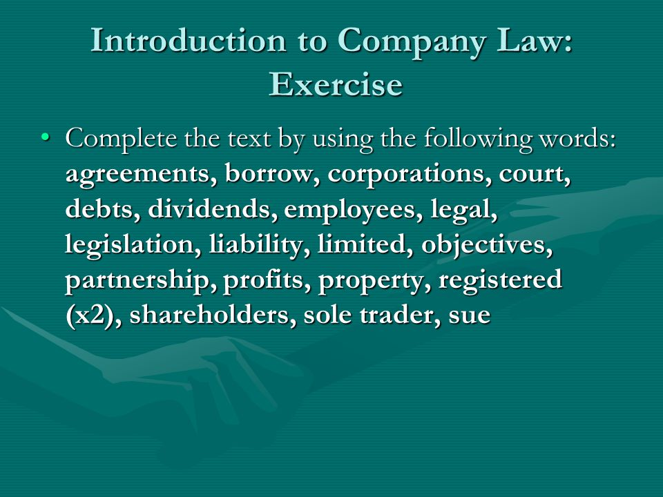 Introduction to Company Law: Exercise
