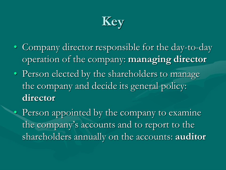 Key Company director responsible for the day-to-day operation of the company: managing director.