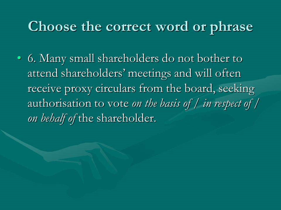 Choose the correct word or phrase