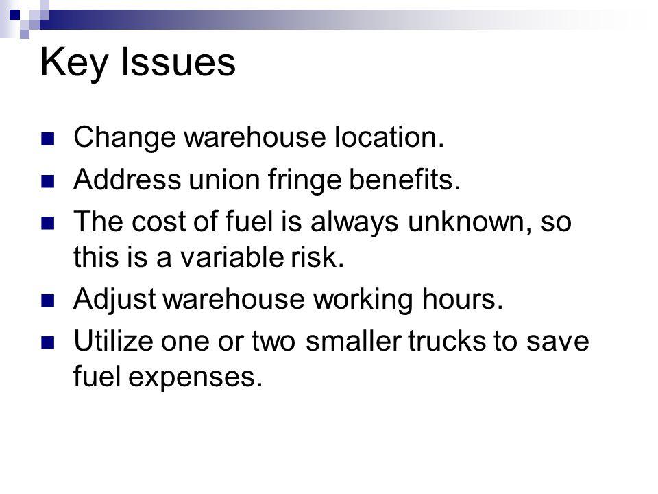 Key Issues Change warehouse location. Address union fringe benefits.