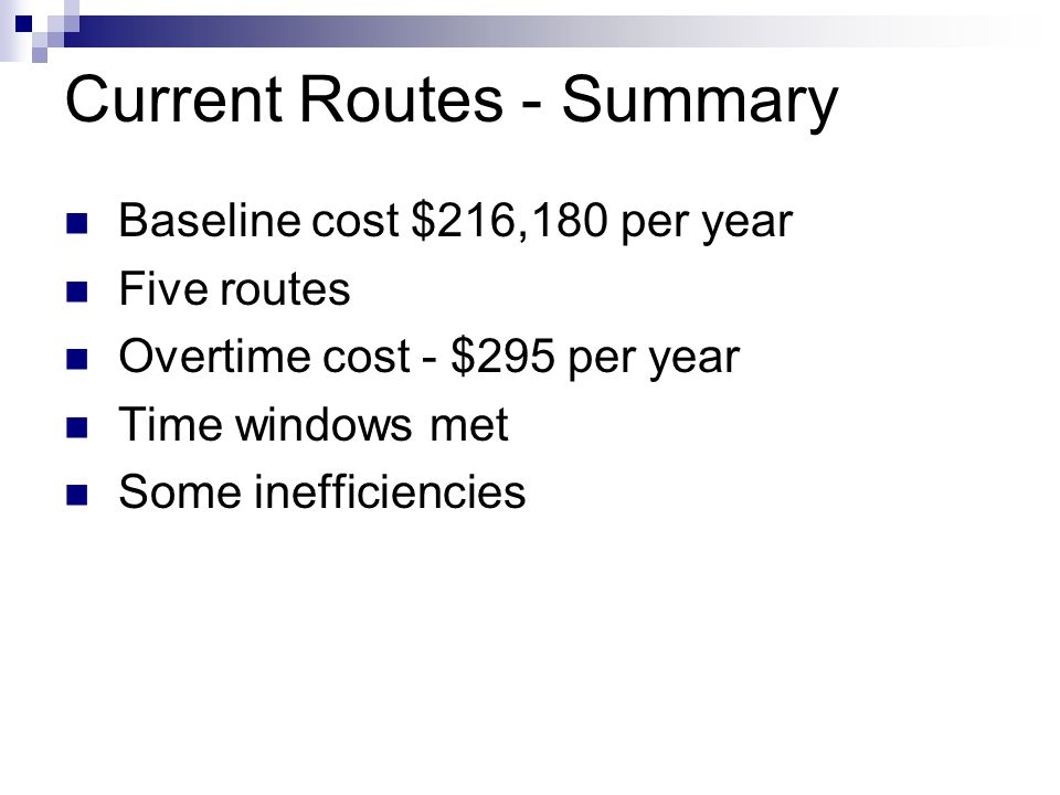Current Routes - Summary