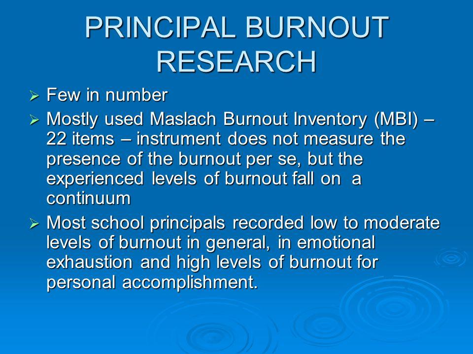 PRINCIPAL BURNOUT RESEARCH