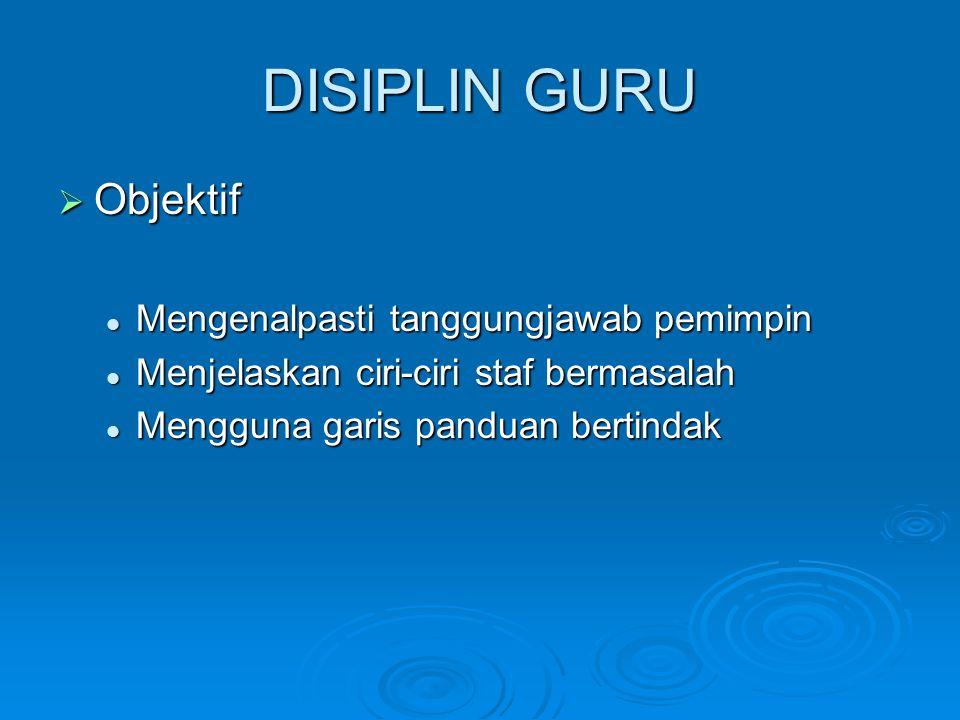 DISIPLIN GURU Objektif Mengenalpasti tanggungjawab pemimpin