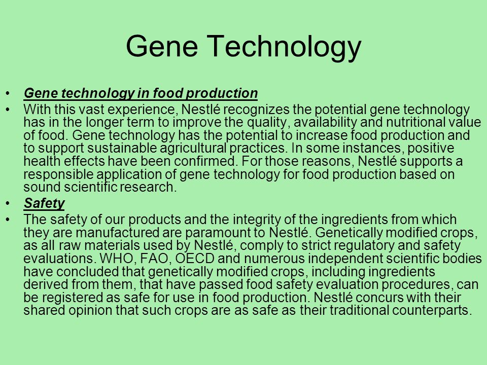 Gene Technology Gene technology in food production