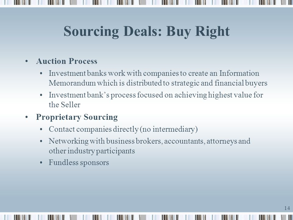 Sourcing Deals: Buy Right
